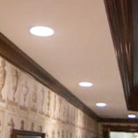 Recessed light fixtures in ceiling