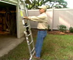 Joe Truini demonstrating ladder safety with extension ladder