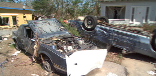 Cars and trucks damaged by Hurricane Katrina