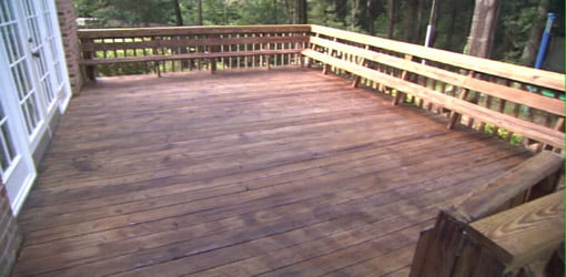 Wood deck on back of house