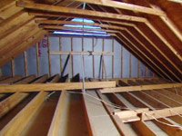 Unfinished attic in home