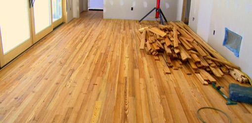 Heart pine wood flooring