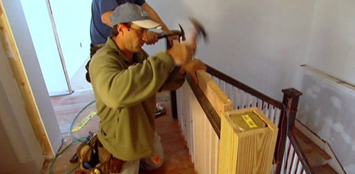 Installing staircase railing