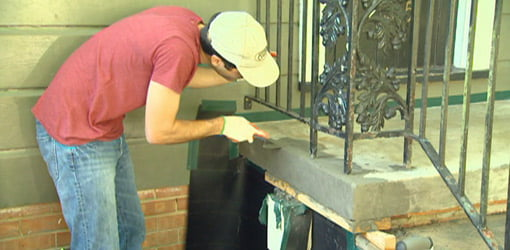 Repairing concrete on steps with concrete resurfacer