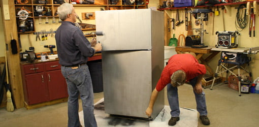 applying Liquid Stainless Steel to fridge