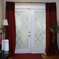 Etched glass window film on glass doors