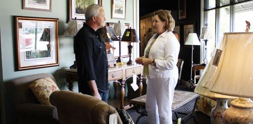 Danny Lipford with interior designer Augusta Tapia in her shop