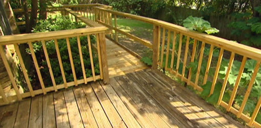 Deck with ramp for easy accessibility.