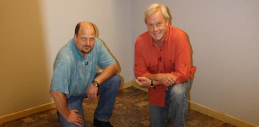 Homeowner John Richards and Danny Lipford install vinyl flooring.