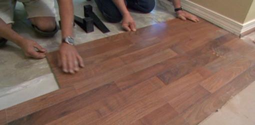 DIY laminate flooring installation.