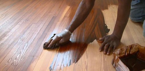 Staining hardwood flooring.