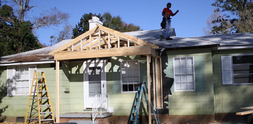 Framing up the front porch on the First Time Homeowner house.