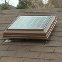 Solar powered roof vent fan.