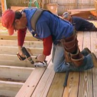 Installing decking with hidden fasteners.