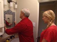 Hanging vanity mirror.