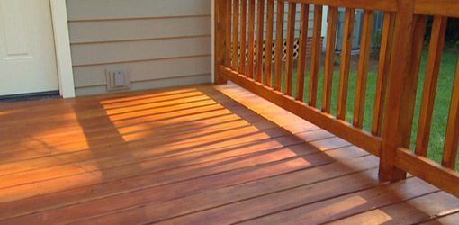 Freshly stained deck.