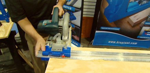 Ripping plywood with Kreg Rip-Cut saw guide.