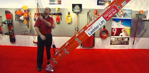 Raising a ladder using the Racor Ladder Lift  pulley storage system.