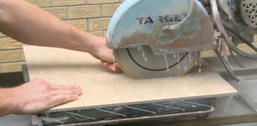 Cutting tile with wet saw