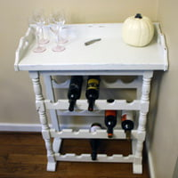 Wine rack with distressed chalk paint finish.