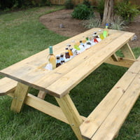 Picnic table drink trough.