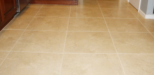 Newly installed ceramic tile floor.