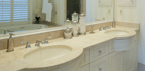Vanity countertop with dual sinks.