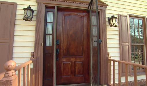 New stained fiberglass door and light fixtures.