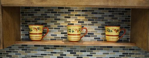 DIY decorative cabinet shelf.