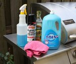 Stainless steel cleaning products on grill.