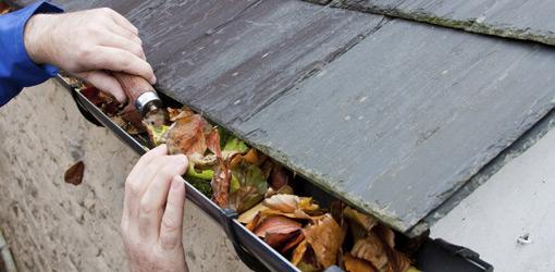 Using a garden trowel to clean gutters.