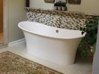 Freestanding soaking tub.