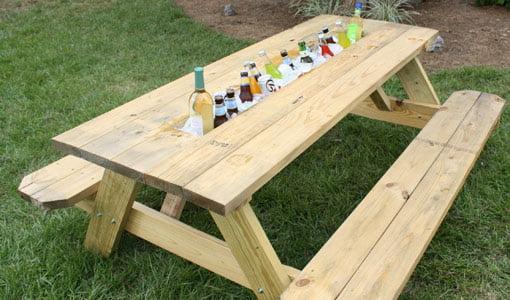 DIY picnic table drink trough.