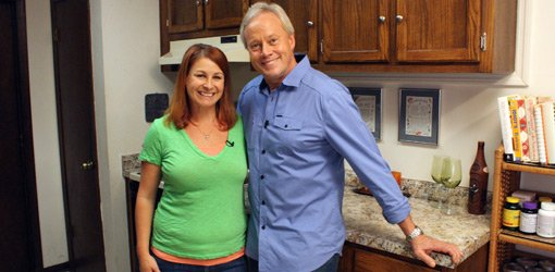 Homeowner Stephanie Ward with Danny Lipford in updated kitchen.