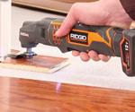 RIDGID JobMax Multi Tool cutting door jamb.