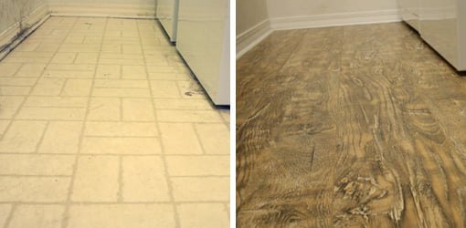 Before and after laundry room laminate flooring project.