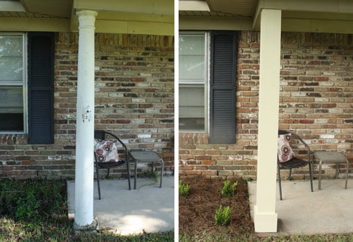 Porch column before and after replacement.