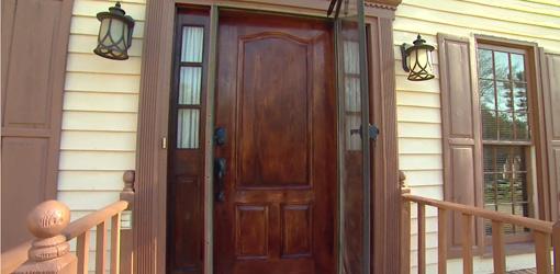 Fiberglass door, light fixtures, and railings.