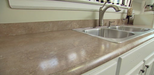 Plastic laminate kitchen countertop.