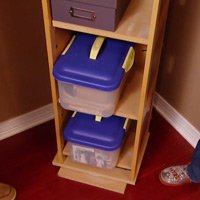 Revolving storage shelves.