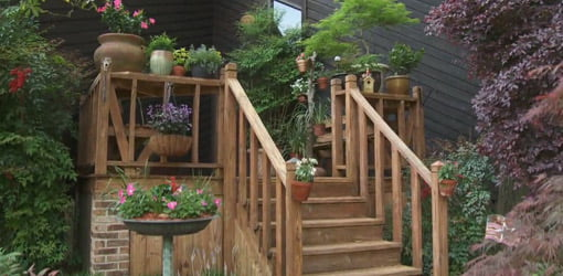 Wood deck on home.