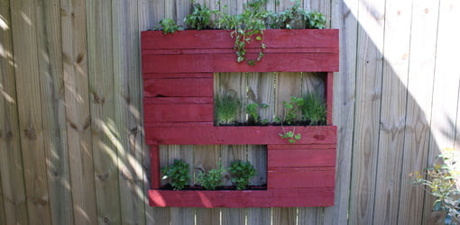 Hanging herb garden made from a wooden pallet.