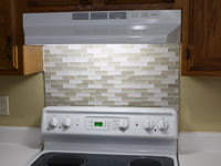 DIY mosaic tile backsplash.