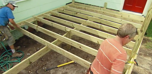 Framing the floor joists for the deck.