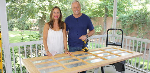 Homeowner Michelle Howard and Danny Lipford with french door.