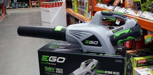EGO POWER+ cordless leaf blower sitting on top of box in Home Depot store.