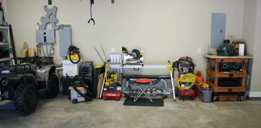 Uncluttered garage after organizing the space.