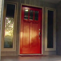 New red entry door.