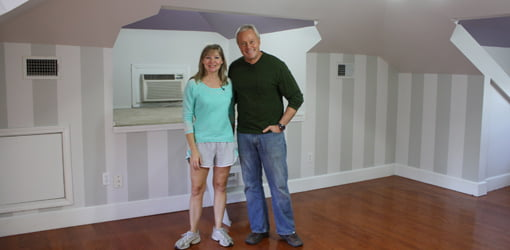 Homeowner Sydney Betbeze and Danny Lipford in newly painted room.