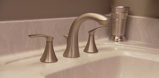 Moen Darcy brushed nickel two-handle sink faucet.